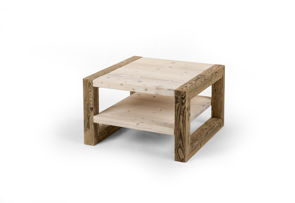 Reclaimed wood coffee table with shelf