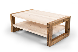Coffee table with shelf made from reclaimed wood